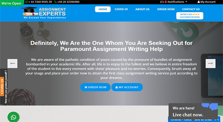 Assignment experts website for leading assignment writing service.